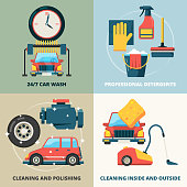 Car dry cleaning. Water wash service foam sponge auto spray vector concept pictures