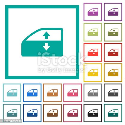 Car electric window winder flat color icons with quadrant frames on white background
