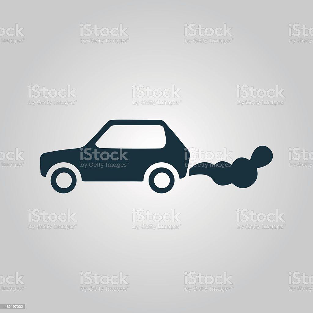 Car emits carbon dioxide vector art illustration