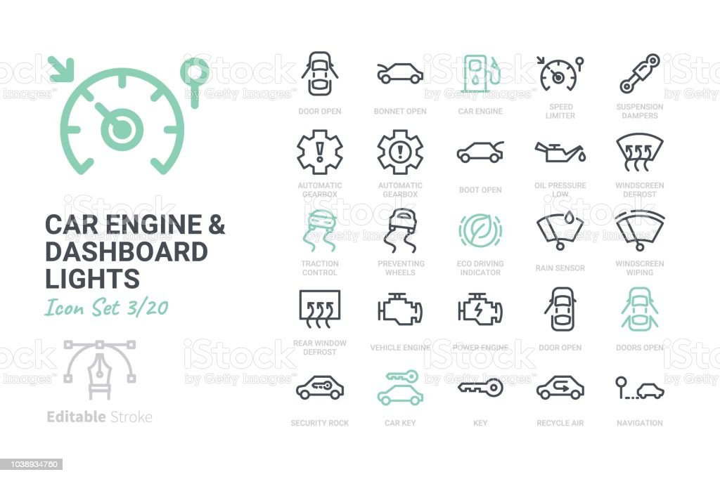 Car Engine And Dashboard Lights Stock Vector Art More Images Of