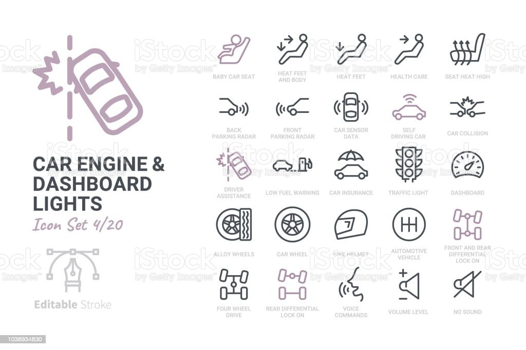 Car Engine and Dashboard Lights vector art illustration