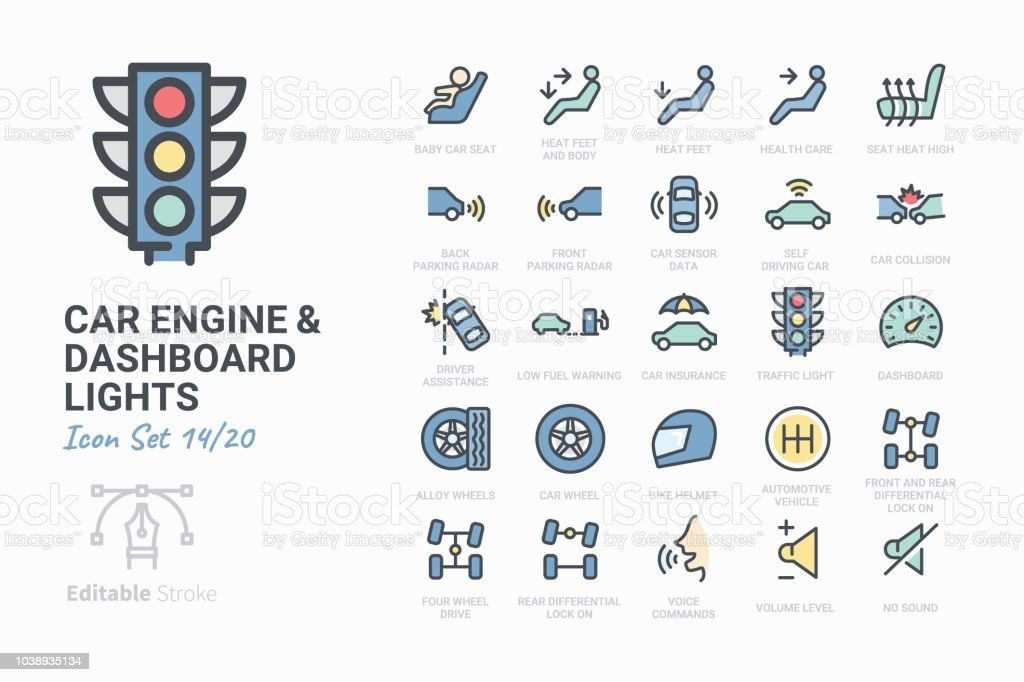 Car Engine and Dashboard Lights vector art illustration