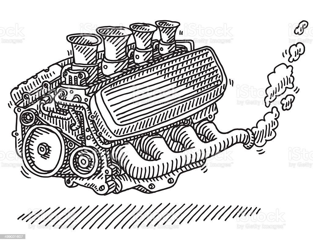 Car Engine Drawing vector art illustration