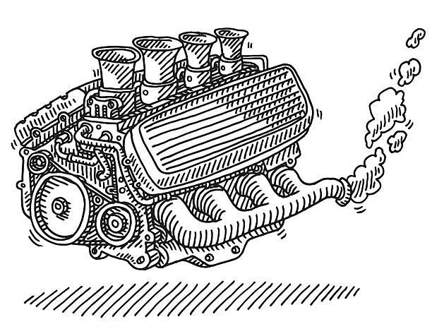 ilustrações de stock, clip art, desenhos animados e ícones de motor de carro desenho - exhaust white background