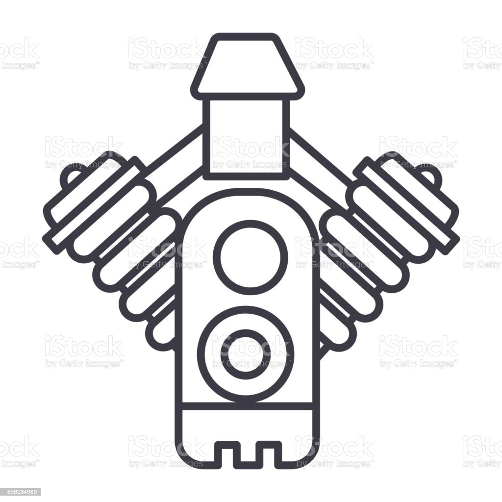Auto Motor Vector Lijn Pictogram Teken Afbeelding Op De Achtergrond
