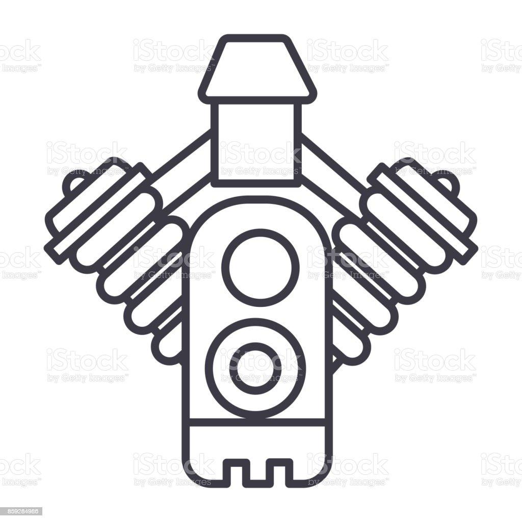Auto-Motor-Vektor-Linie-Symbol, Zeichen, Illustration auf Hintergrund, editierbare Striche – Vektorgrafik