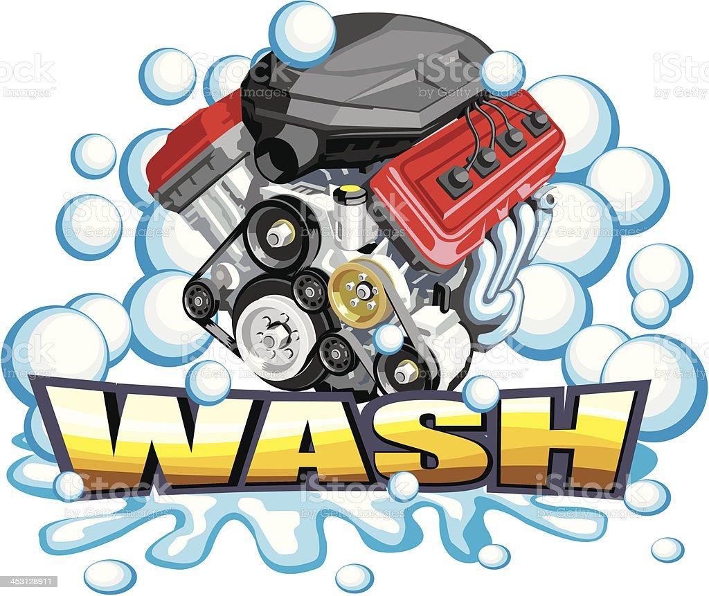 car engine wash royalty-free stock vector art
