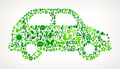 Car On Green Environmental Conservation and Nature royalty free vector interface icon pattern. This royalty free vector art features nature and environment icon set pattern. The major color is green and icons include trees, leaves, energy, light bulb, preservation, solar power and sun. Icon download includes vector art and jpg file.