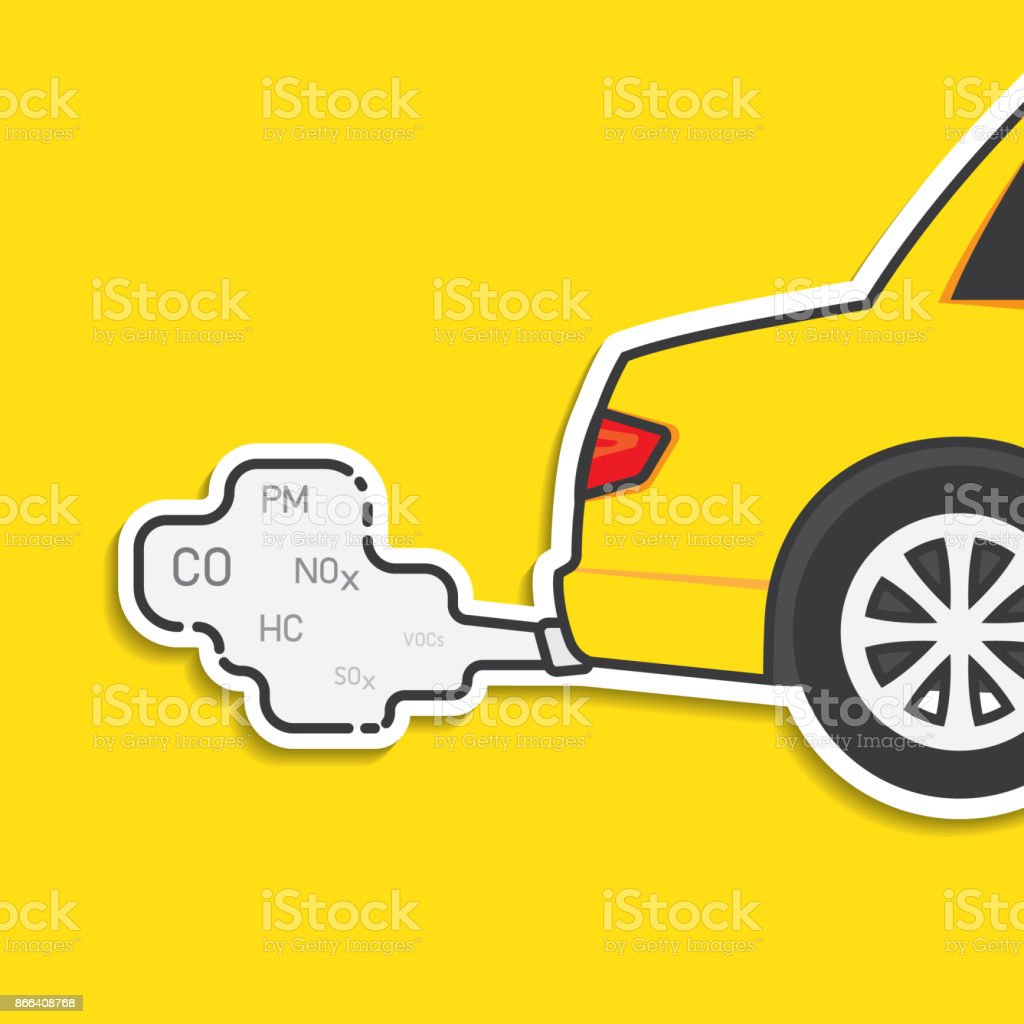 Car exhaust and smoke emission vector art illustration