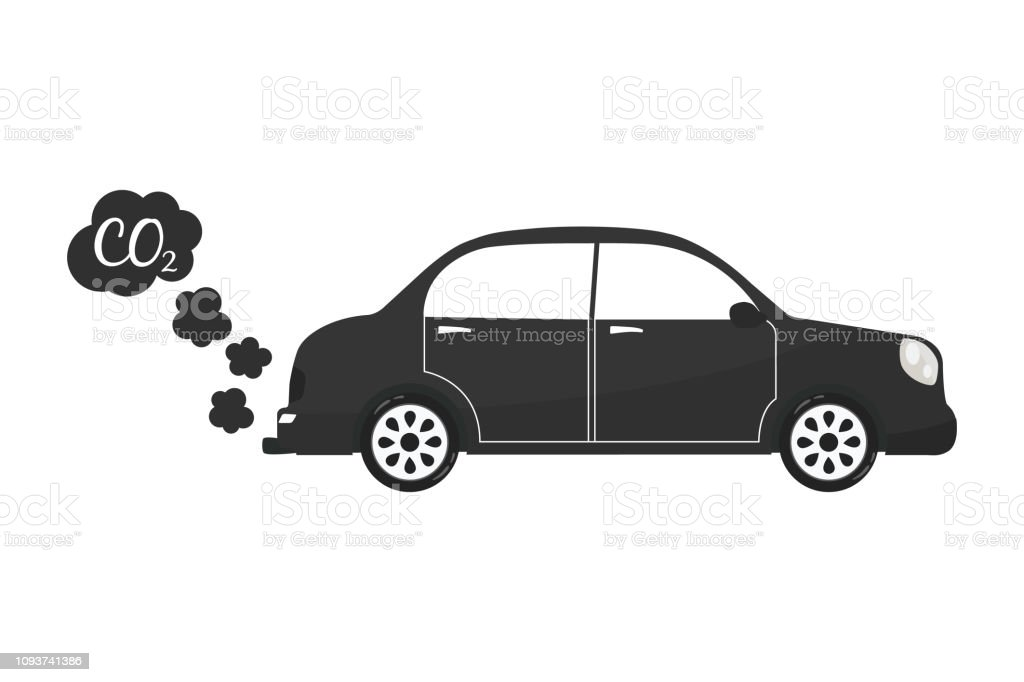 Car Exhaust Co2 Smoke Isolated Icon On White Background Auto Service