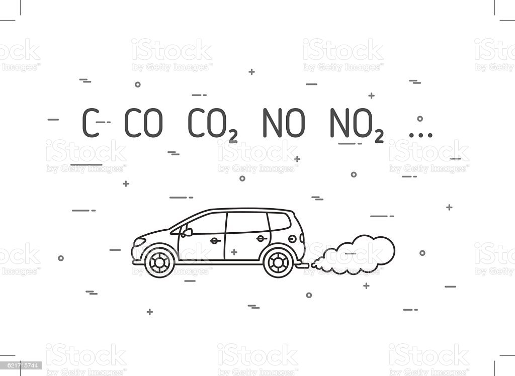 Car With Exhaust Smoke Cloud, Ecological Problem, Air Pollution.. Royalty Free  Cliparts, Vectors, And Stock Illustration. Image 127639689.