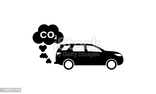 Cars emits co2, carbon dioxide. concept of smog, pollutant, damage,  contamination, garbage, combustion products.