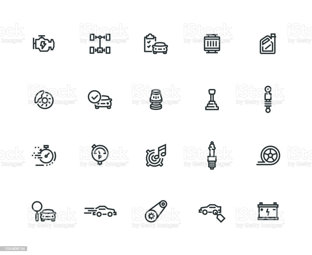 Car Features Icon Set - Thick Line Series vector art illustration