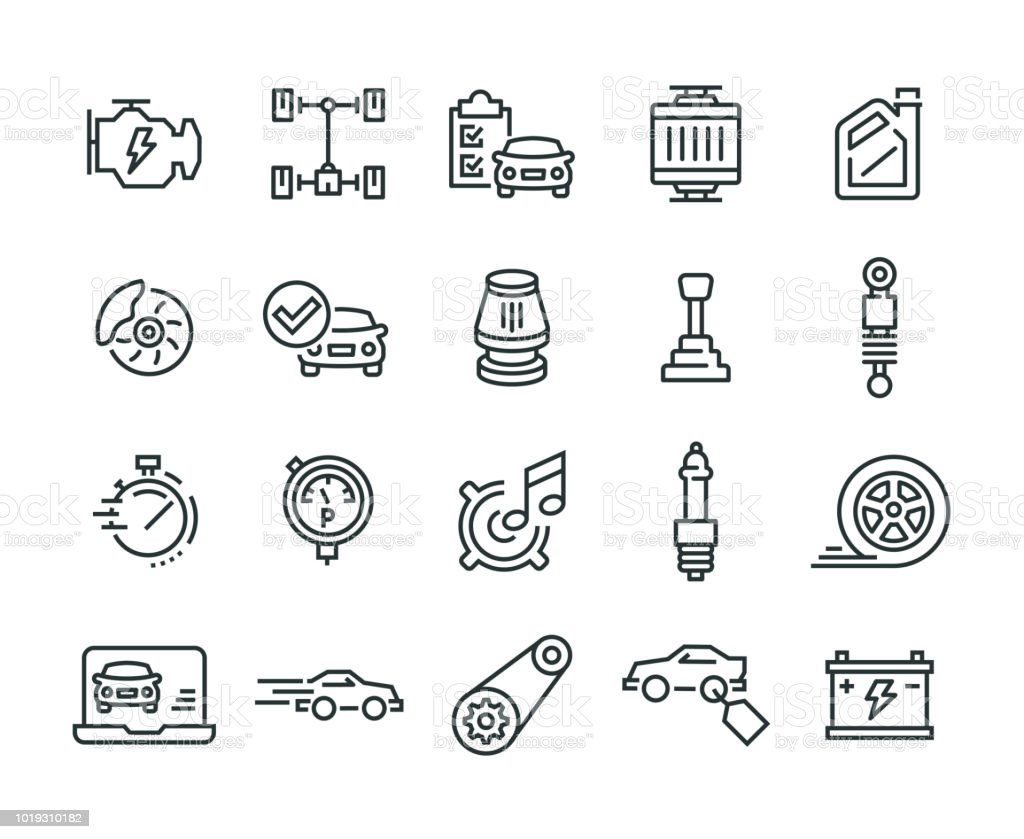 Car Features Icon Set vector art illustration