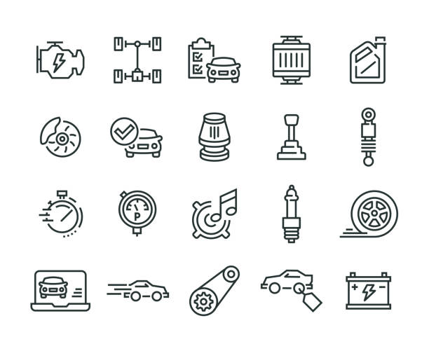 stockillustraties, clipart, cartoons en iconen met auto functies icon set - chauffeur beroep
