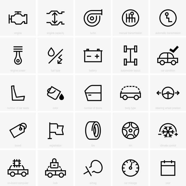 stockillustraties, clipart, cartoons en iconen met pictogram van de functies van de auto - klimaat