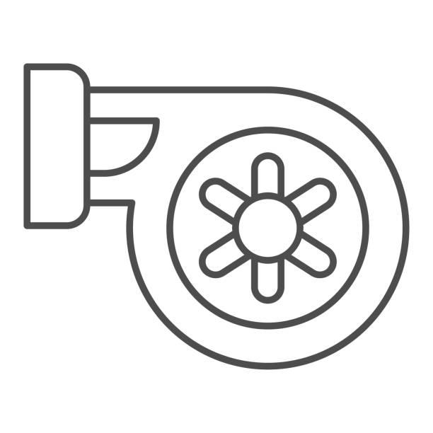 ilustraciones, imágenes clip art, dibujos animados e iconos de stock de icono de línea delgada del filtro de coche. ilustración vectorial de filtro de aire automático aislada en blanco. diseño de estilo de contorno de parte del coche, diseñado para web y aplicación. - social media