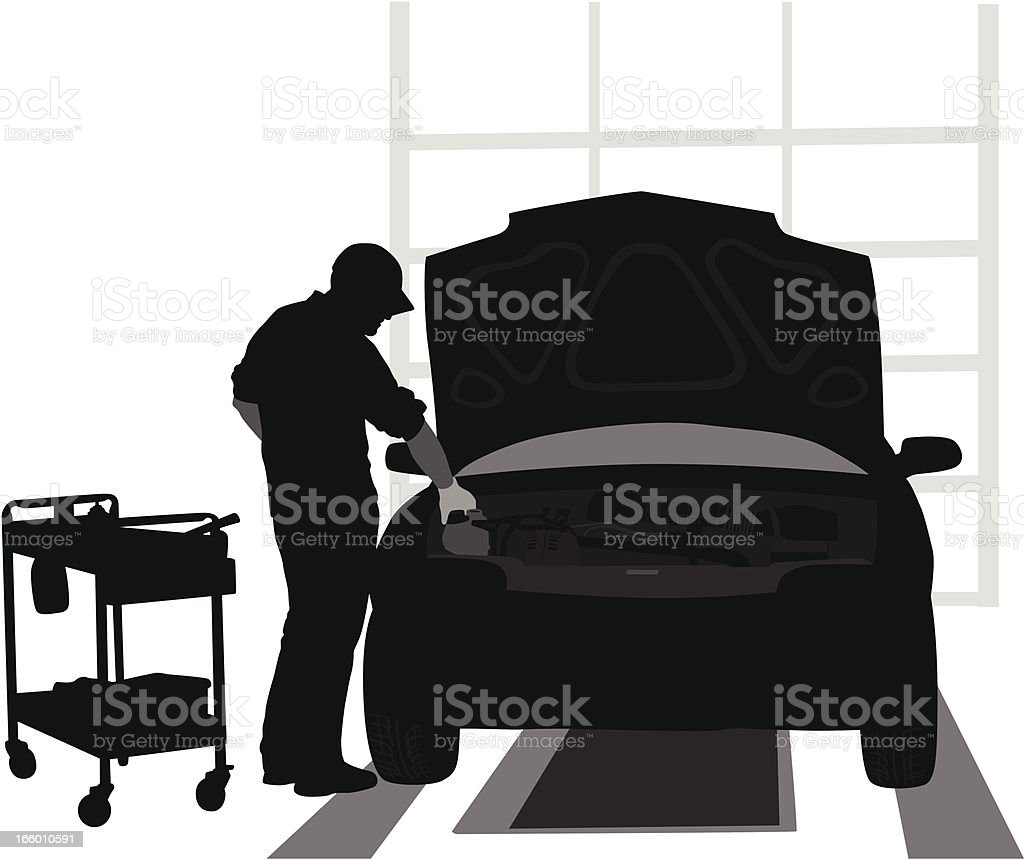 Car Fixing vector art illustration