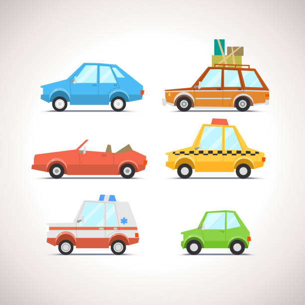 Car Flat Icon Set 1 Car Flat Icon Set 1 convertible stock illustrations