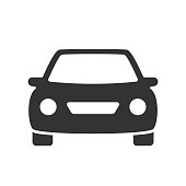 passenger car with round headlights vector icon isolated on white background. car flat icon for web and ui design