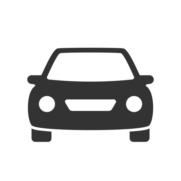 car flat icon passenger car with round headlights vector icon isolated on white background. car flat icon for web and ui design personal land vehicle stock illustrations