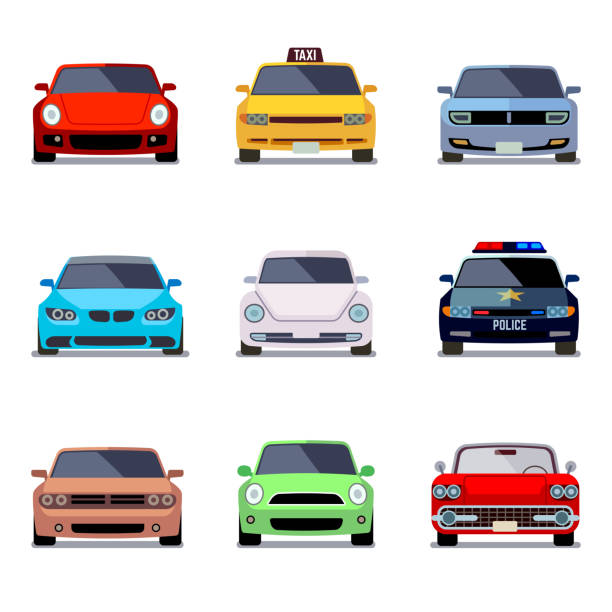 Car flat vector icons in front view vector art illustration