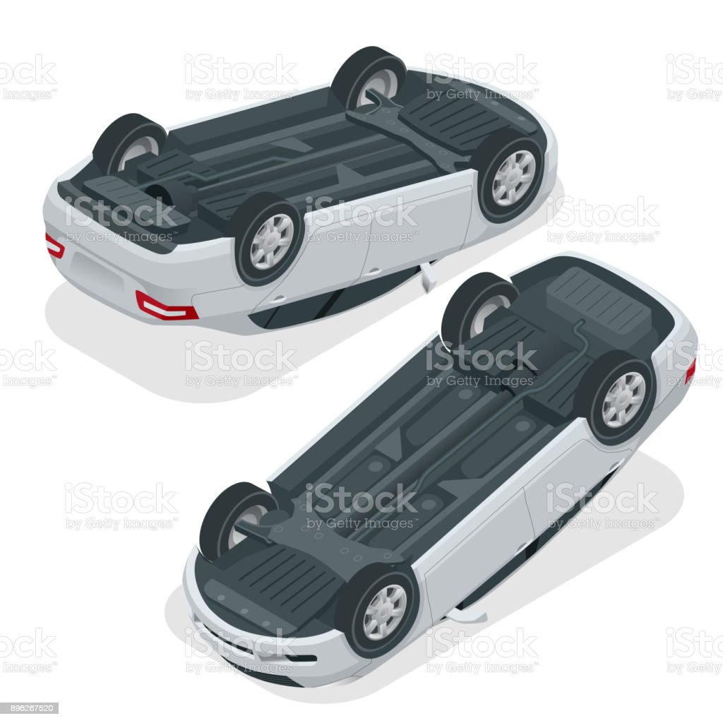 Car flipped. Car turned over after accident. Vehicle flipped onto roof. Vector isometric illustration. vector art illustration