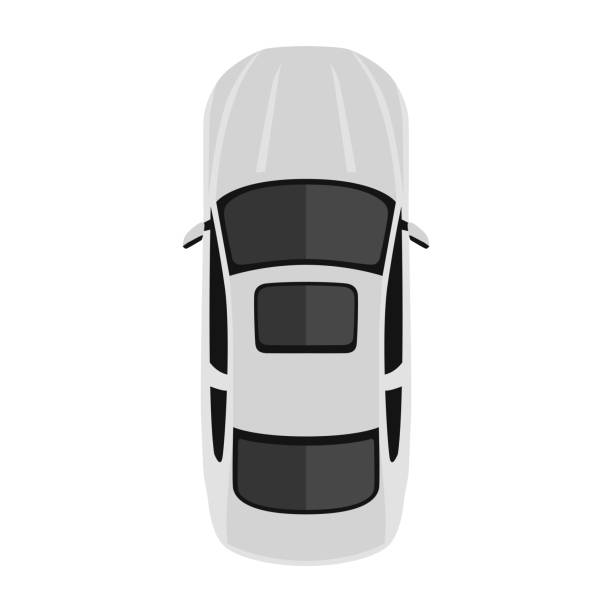 Car from above, top view. Cute cartoon car with shadows. Modern urban civilian vehicle. One of the collection or set. Simple icon or logo. Realistic design. Flat style vector illustration. Car from above, top view. Cute cartoon car with shadows. Modern urban civilian vehicle. One of the collection or set. Simple icon or logo. Realistic design. Flat style vector illustration. aerial view stock illustrations