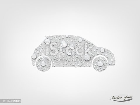 istock car from transparent water drop vector 1214035308