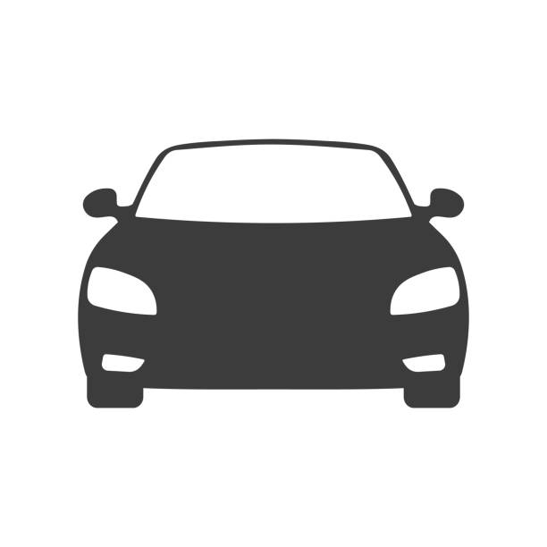 car front view icon - car stock illustrations