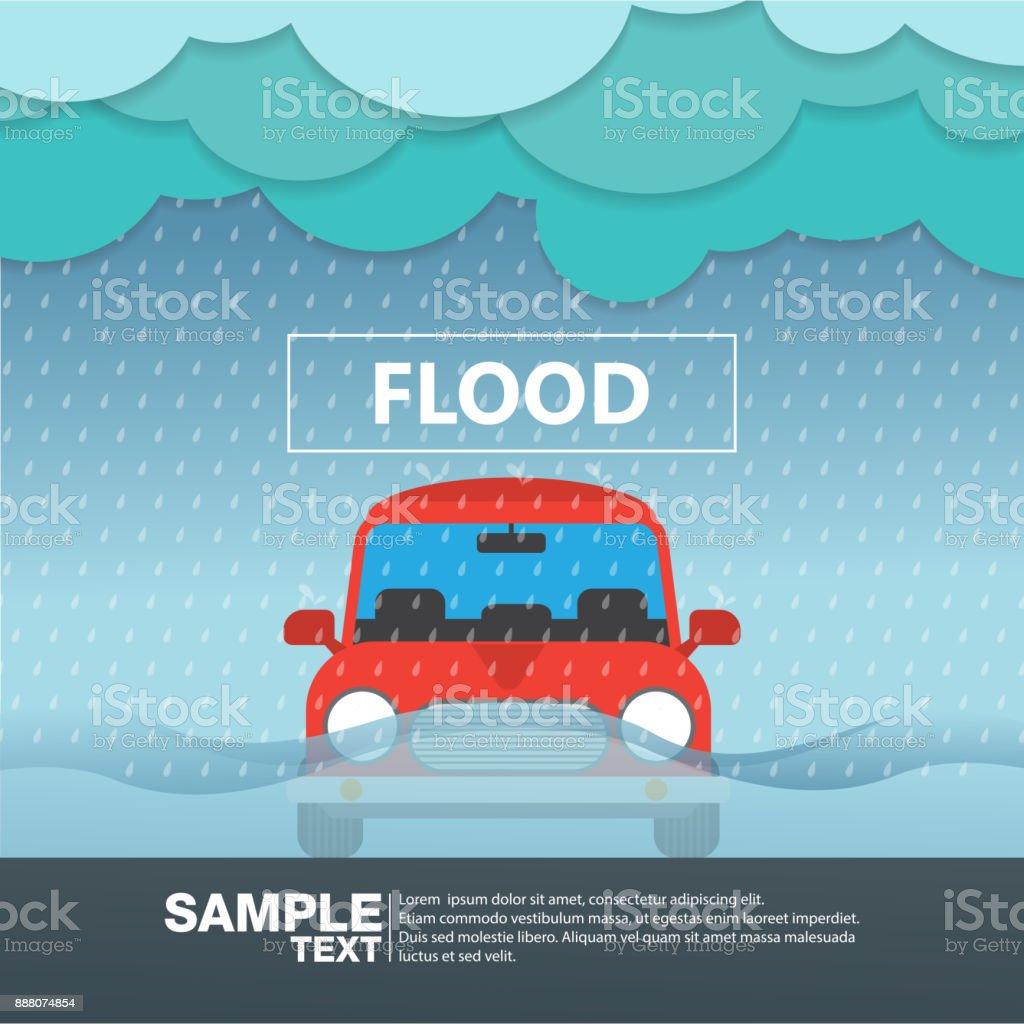 車フロント ビューでの洪水雨季ベクトル図 ベクターアートイラスト