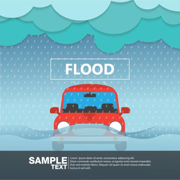 車フロント ビューでの洪水雨季ベクトル図 - 雨点のイラスト素材/クリップアート素材/マンガ素材/アイコン素材