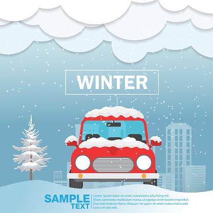 Car front View on snow winter season Vector Illustration