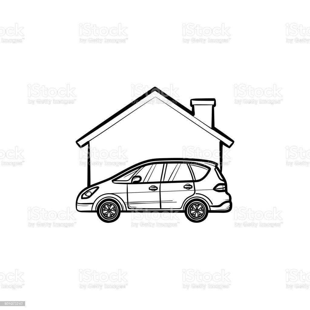 Folkekære Bil Garage Hand Ritad Skiss Ikon-vektorgrafik och fler bilder på NJ-19