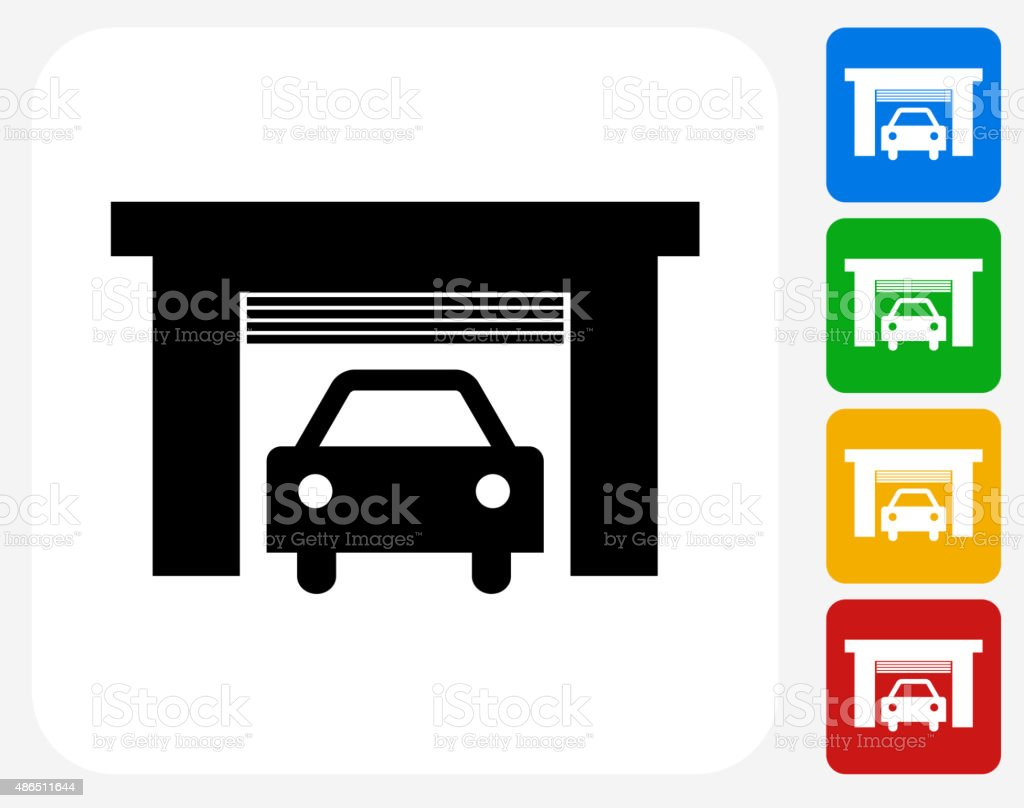 Car Garage Icon Flat Graphic Design vector art illustration
