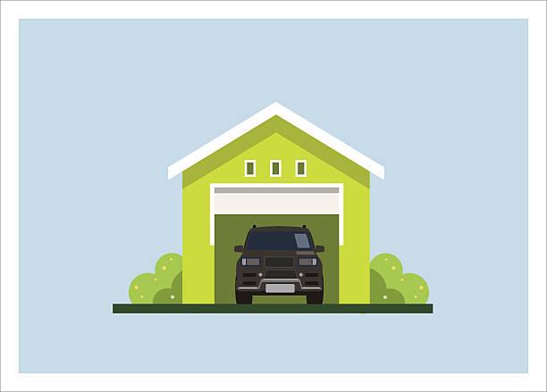 stockillustraties, clipart, cartoons en iconen met car garage simple flat illustration - opslagruimte