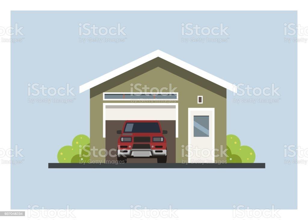 Iki Kapılı Araba Garaj Stok Vektör Sanatı Abdnin Daha Fazla