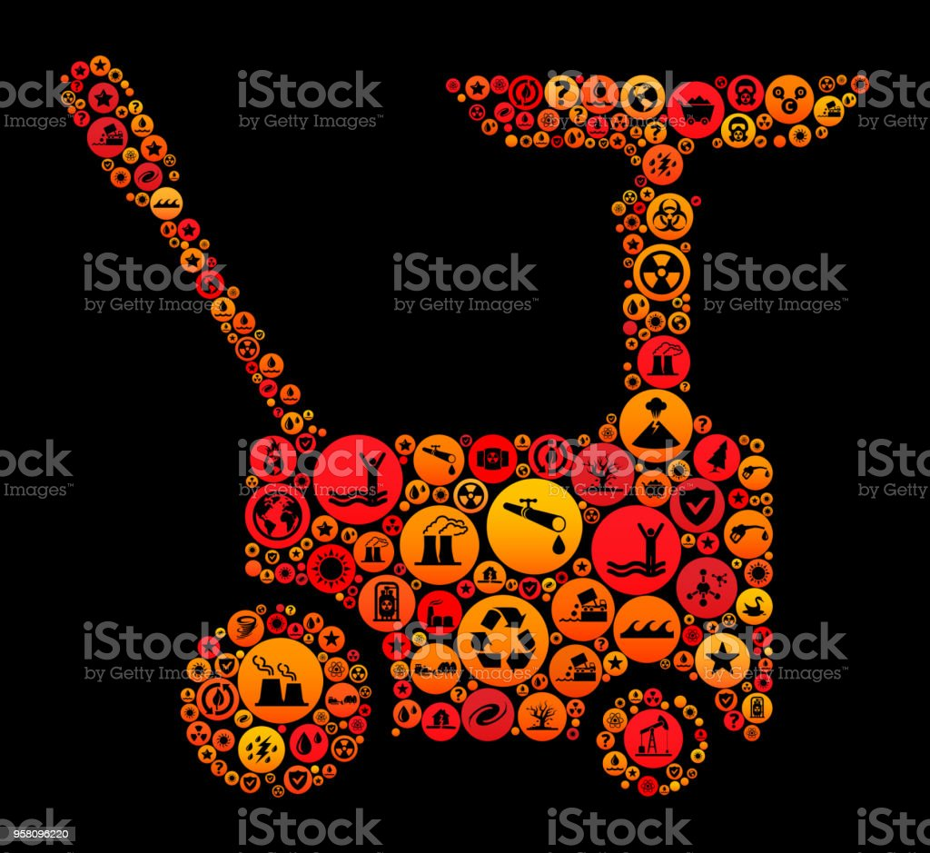 Car Generator Climate Change Vector Icon Pattern Stock