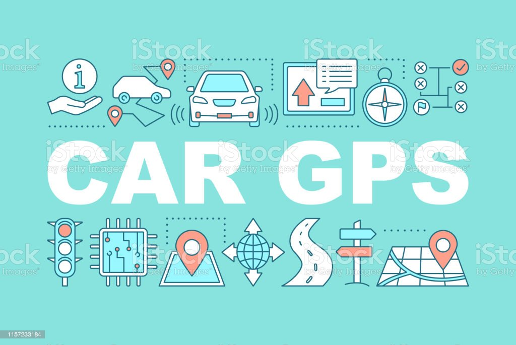 Car GPS system word concepts banner. GPS navigation. Mapping. Route...