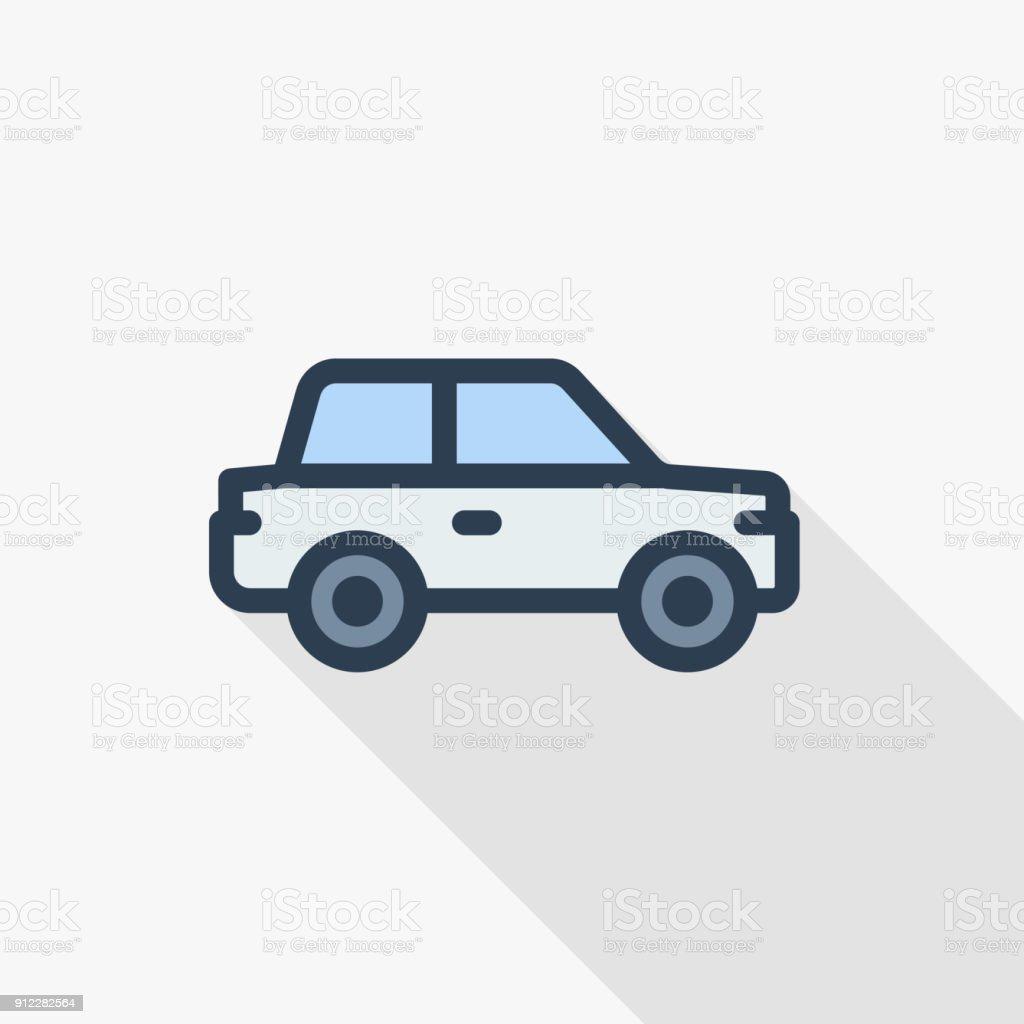 car, hatchback thin line flat color icon. Linear vector symbol. Colorful long shadow design. vector art illustration