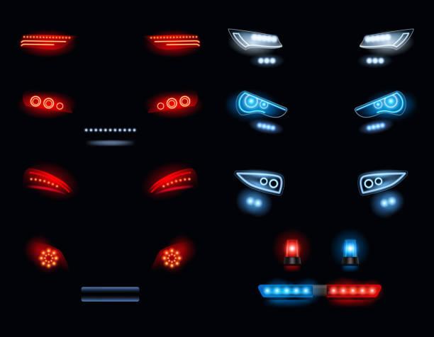 stockillustraties, clipart, cartoons en iconen met auto koplampen. donkere omgeving met rode en witte automobile lights vector realistische collectie - mist donker auto