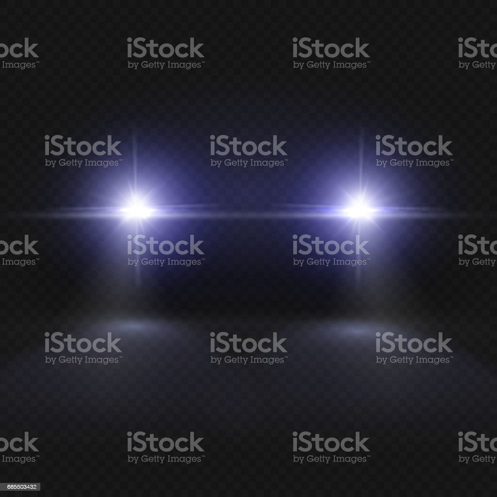 Car headlights. Headlamp glowing vector effect isolated on transpatent plaid background vector art illustration