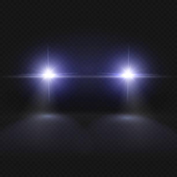 illustrations, cliparts, dessins animés et icônes de phares de voiture. projecteur lumineux effet vector isolé sur fond carreaux transparente - voiture nuit