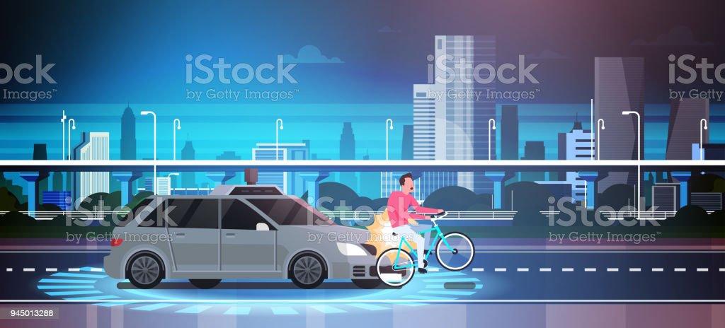 Car Hit Man On Bike On Road Over City Background Crash Accident vector art illustration