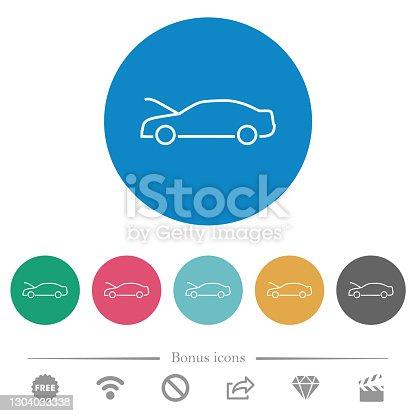 istock Car hood open dashboard indicator flat round icons 1304033338