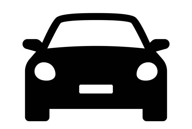 illustrazioni stock, clip art, cartoni animati e icone di tendenza di icona dell'auto. auto veicolo isolato. icone di trasporto. vista frontale silhouette automobile. berlina, veicolo o automobile simbolo su sfondo bianco - vettore stock. - auto