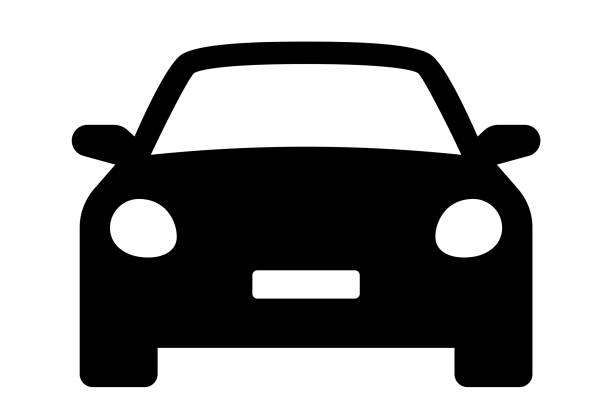 auto-symbol. autofahrzeug isoliert. transportsymbole. automobil silhouette frontansicht. limousine auto, fahrzeug oder auto-symbol auf weißem hintergrund - lager vektor. - auto stock-grafiken, -clipart, -cartoons und -symbole