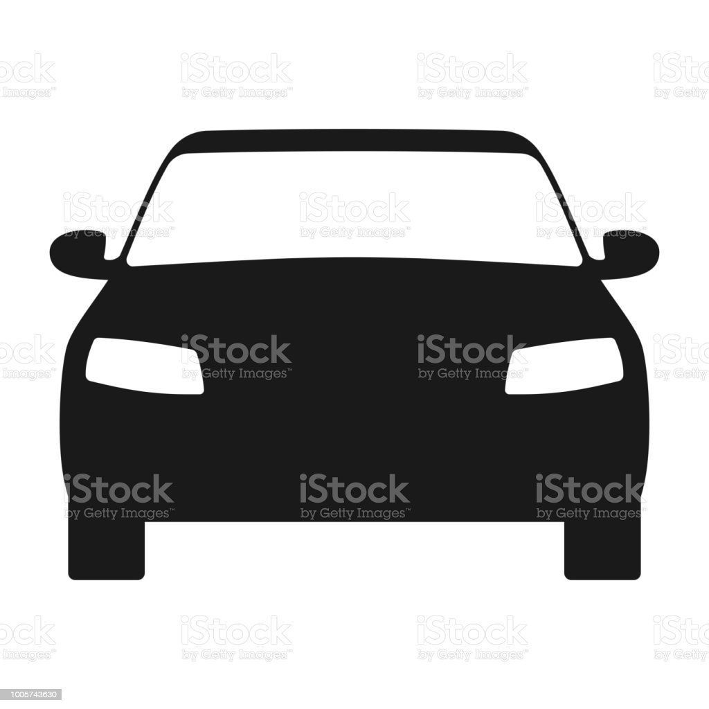 Car Icon Automobile Symbol Front View Flat Style Stock