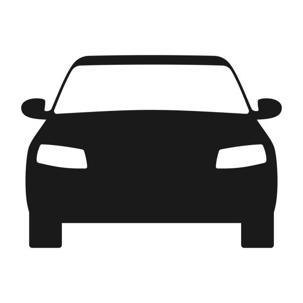 Car icon. Automobile symbol front view. Flat style Car icon. Automobile symbol front view. Flat style front view stock illustrations