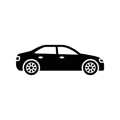 Car icon. Black, minimalist icon isolated on white background. clipart